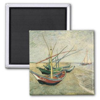 フィンセント・ファン・ゴッホ著ビーチの漁船 マグネット