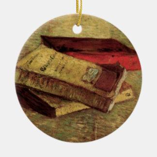 フィンセント・ファン・ゴッホ著作の3冊の本が付いている静物画 セラミックオーナメント