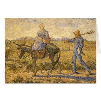 フィンセント・ファン・ゴッホ著働くことを行く小作農のカップル カード