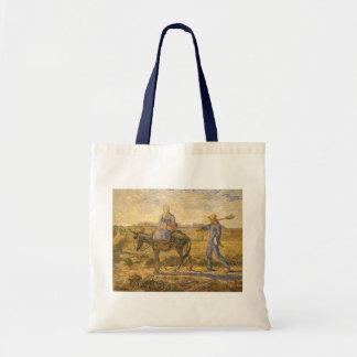 フィンセント・ファン・ゴッホ著働くことを行く小作農のカップル トートバッグ