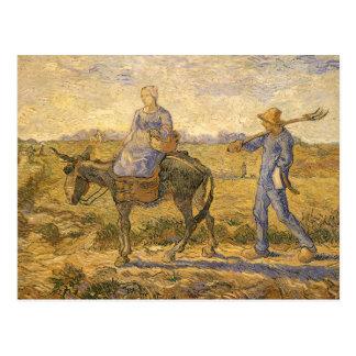 フィンセント・ファン・ゴッホ著働くことを行く小作農のカップル ポストカード