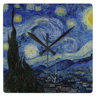 フィンセント・ファン・ゴッホ著星明かりの夜 スクエア壁時計