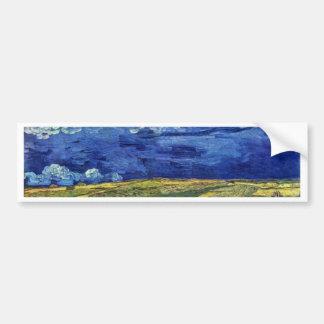 フィンセント・ファン・ゴッホ著曇らせていた空の下の小麦畑 バンパーステッカー