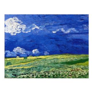フィンセント・ファン・ゴッホ著曇らせていた空の下の小麦畑 ポストカード
