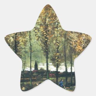 フィンセント・ファン・ゴッホ著絵を描いているポプラが付いている車線 星シール