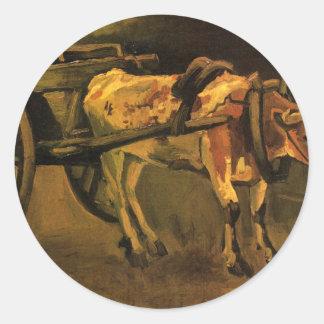 フィンセント・ファン・ゴッホ著赤と白のウシが付いているカート ラウンドシール