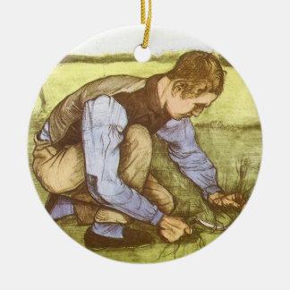 フィンセント・ファン・ゴッホ著鎌を持つ男の子の切断の草 セラミックオーナメント