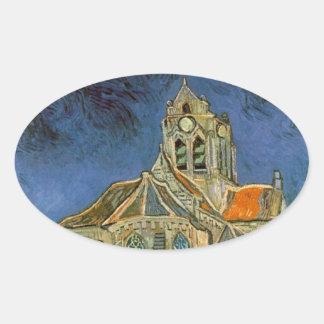 フィンセント・ファン・ゴッホ著Auverの教会 楕円形シール