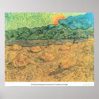フィンセント・ファン・ゴッホ著moonriseの夕べの景色 ポスター
