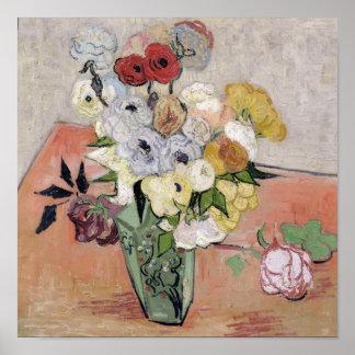フィンセント・ファン・ゴッホ のバラおよびアネモネ1890年 ポスター