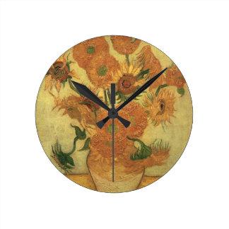 フィンセント・ファン・ゴッホ|のヒマワリ1889年 ラウンド壁時計