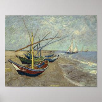 フィンセント・ファン・ゴッホ-ビーチの漁船 ポスター