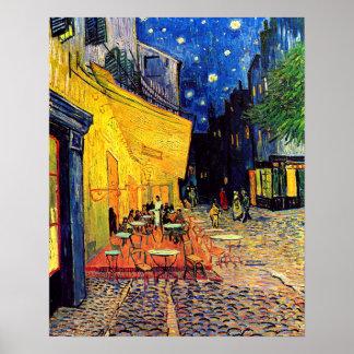 フィンセント・ファン・ゴッホ-夜ファインアートのカフェ台地 ポスター