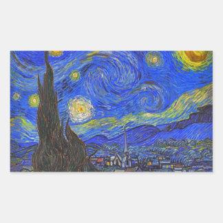 フィンセント・ファン・ゴッホ-星明かりの夜(1889年) 長方形シール