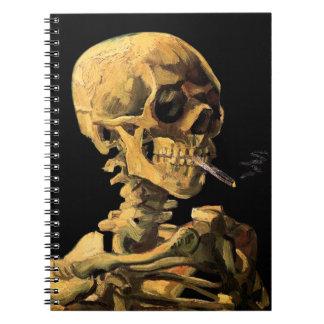 フィンセント・ファン・ゴッホ-非常に熱いタバコが付いているスカル ノートブック