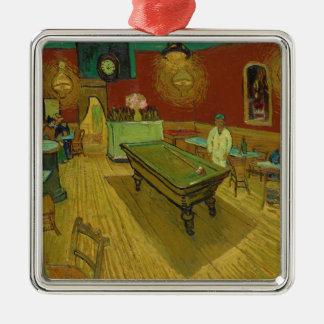 フィンセント・ファン・ゴッホ(1888年)著夜Café シルバーカラー正方形オーナメント