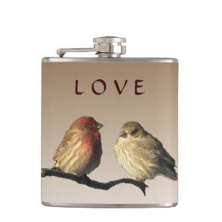 フィンチの鳥愛結婚式のフラスコ フラスク