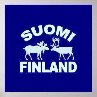 フィンランドのアメリカヘラジカ及びトナカイポスター ポスター
