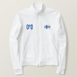 フィンランドのジッパーのフード付きスウェットシャツ 刺繍入りジャケット