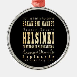 フィンランドのタイポグラフィの芸術のヘルシンキ都市 メタルオーナメント