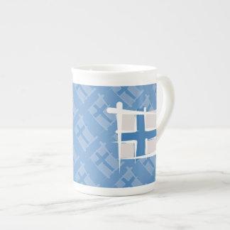 フィンランドのブラシの旗 ボーンチャイナカップ
