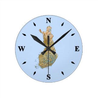 フィンランドの地図の時計 ラウンド壁時計