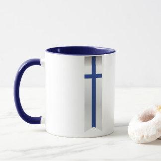 フィンランドの抽象的な旗、フィンランド色 マグカップ