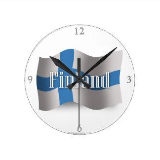 フィンランドの振る旗 ラウンド壁時計