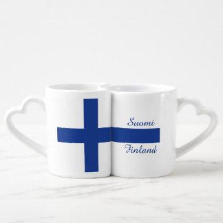フィンランドの旗のカスタムなカップルのマグ ペアカップ
