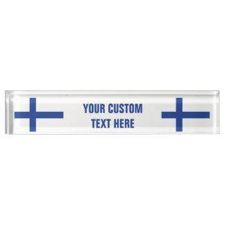 フィンランドの旗のカスタムな机のプレート デスクネームプレート