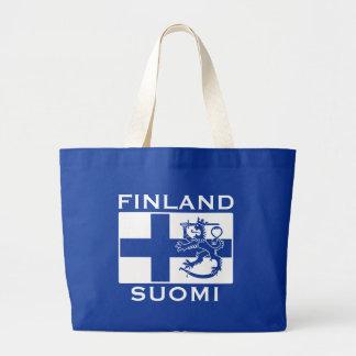 フィンランドの旗 ラージトートバッグ