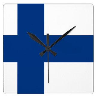 フィンランドの柱時計の旗 スクエア壁時計