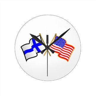 フィンランドの米国旗 ラウンド壁時計