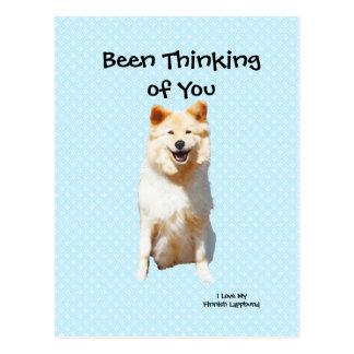 フィンランドのLapphundの-青い水玉模様恋しく思うこと ポストカード