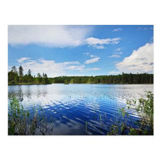 フィンランドのSaimaa湖のすばらしい眺め ポストカード