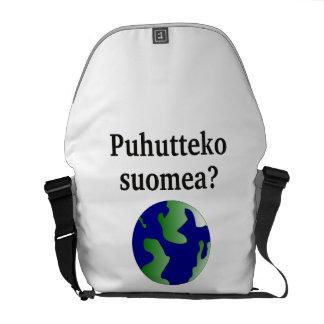 フィンランドを話しますか。 フィンランド。 地球を使って メッセンジャーバッグ