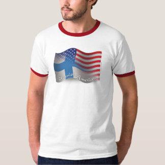 フィンランドアメリカの振る旗 Tシャツ