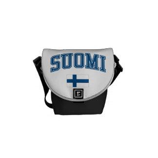フィンランド + 旗 メッセンジャーバッグ