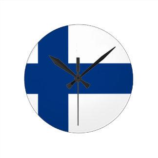 フィンランド- Suomen Lippu - Siniristilippuの旗 ラウンド壁時計