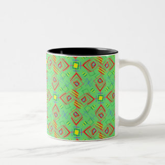 フェスティバルパターン緑かミント ツートーンマグカップ