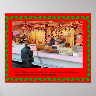 フェスティバル、クリスマスの市場、オランダの食糧 ポスター