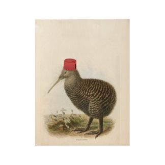 フェズの不合理なヴィンテージを身に着けているキーウィの鳥 ウッドポスター