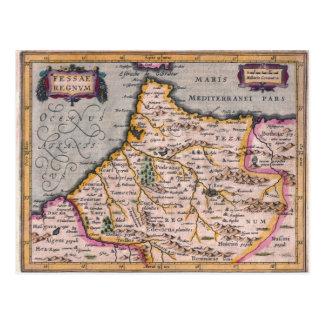 フェズ-モロッコの郵便はがきの旧式な地図の王国 ポストカード