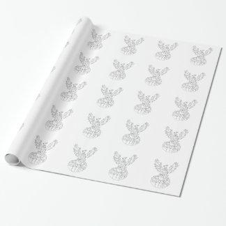 フェニックスの上昇の激しい炎白黒Drawin 包装紙