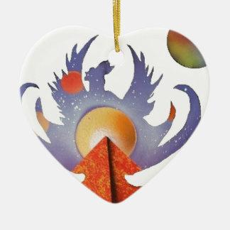 フェニックスの上昇 陶器製ハート型オーナメント