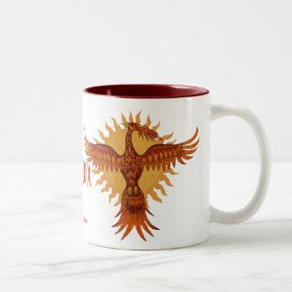 フェニックスの火の鳥のカッコいいのマグのデザイン ツートーンマグカップ
