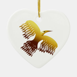 フェニックスの美しい様式化された金鳥 陶器製ハート型オーナメント
