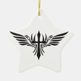 フェニックスの翼および十字 セラミックオーナメント