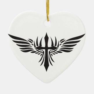 フェニックスの翼および十字 陶器製ハート型オーナメント
