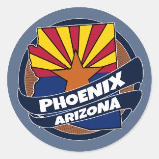 フェニックスアリゾナの旗はステッカーのあたりで破烈しました ラウンドシール